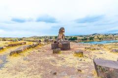 Funerary towers in Sillustani, Peru,South America- Inca prehistoric ruins Stock Photos