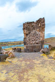 Funerary towers in Sillustani, Peru,South America- Inca prehistoric ruins Royalty Free Stock Images