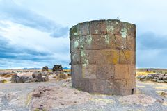 Funerary towers in Sillustani, Peru,South America- Inca prehistoric ruins Royalty Free Stock Images
