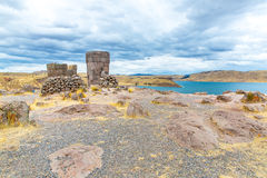 Funerary towers in Sillustani, Peru,South America- Inca prehistoric ruins near Puno Royalty Free Stock Images