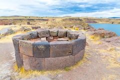 Funerary towers in Sillustani, Peru,South America- Inca prehistoric ruins Royalty Free Stock Photography