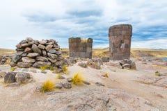 Funerary towers in Sillustani, Peru,South America- Inca prehistoric ruins near Puno Royalty Free Stock Photo