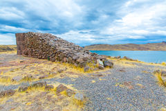 Funerary towers in Sillustani, Peru,South America- Inca prehistoric ruins near Puno Royalty Free Stock Photo