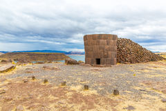 Funerary towers in Sillustani, Peru,South America- Inca prehistoric ruins near Puno Stock Photos