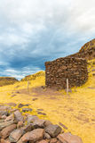 Funerary towers in Sillustani, Peru,South America- Inca prehistoric ruins near Puno Stock Photo