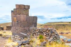 Funerary towers in Sillustani, Peru, South America- Inca prehistoric ruins near Puno stock images
