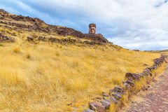 Funerary towers in Sillustani, Peru,South America- Inca prehistoric ruins near Puno Royalty Free Stock Photography