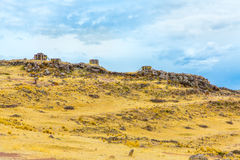 Funerary towers in Sillustani, Peru,South America- Inca prehistoric ruins near Puno Royalty Free Stock Images