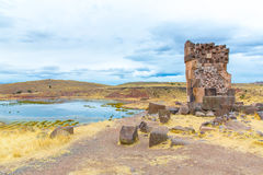 Funerary towers in Sillustani, Peru,South America- Inca prehistoric ruins near Puno Royalty Free Stock Photos