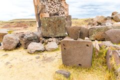 Funerary towers in Sillustani, Peru,South America- Inca prehistoric ruins near Puno,Titicaca Royalty Free Stock Image