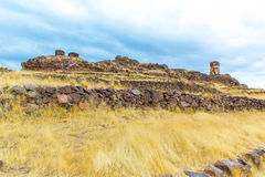 Funerary towers in Sillustani, Peru,South America- Inca prehistoric ruins near Puno,Titicaca Stock Image
