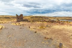 Funerary towers in Sillustani, Peru,South America- Inca prehistoric ruins near Puno,Titicaca Royalty Free Stock Photography