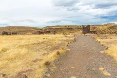 Funerary towers in Sillustani, Peru,South America- Inca prehistoric ruins near Puno,Titicaca stock photos