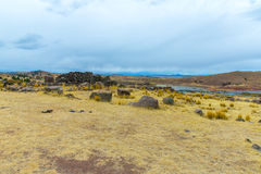 Funerary towers in Sillustani, Peru,South America- Inca prehistoric ruins near Puno,Titicaca Stock Photography