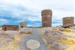 Funerary towers in Sillustani, Peru,South America- Inca prehistoric ruins,Titicaca lake area. Stock Photo