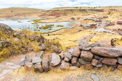 Funerary towers in Sillustani, Peru,South America- Inca prehistoric ruins,Titicaca lake area. Royalty Free Stock Photos