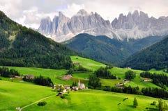 Funes谷,意大利 库存照片