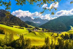 Funes Valley Santa Magdalena view and Odle mountains, Dolomites stock image