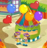 The funfair. Happy and colorful drawing for children Stock Image