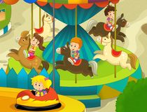 The funfair. Happy and colorful drawing for children Stock Photo