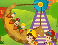 The funfair. Happy and colorful drawing for children Royalty Free Stock Photo