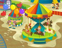 The funfair. Happy and colorful drawing for children Stock Photos