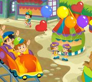 The funfair. Happy and colorful drawing for children Royalty Free Stock Images