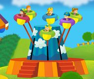 The funfair. Happy and colorful drawing for children Royalty Free Stock Image