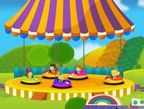 The funfair. Happy and colorful drawing for children Royalty Free Stock Photos