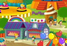 The funfair. Happy and colorful drawing for children Stock Photography