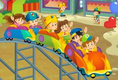 The funfair. Happy and colorful drawing for children Stock Images