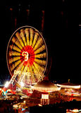 Funfair. Scenery at the night stock photo