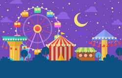Funfair carnival night illustration Royalty Free Stock Photography