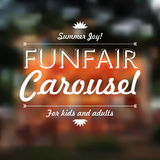 Funfair Carousel text, Summer joy, over defocused background, ve Stock Photo