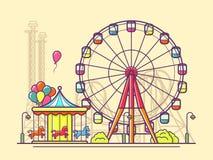 Funfair com roda de ferris Imagem de Stock Royalty Free