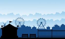 Funfair del carnaval de la silueta con paisaje de la diversión stock de ilustración