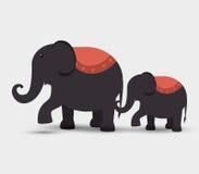 funfair del festival de los elefantes del circo stock de ilustración