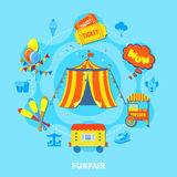 Funfair design vector illustration. Circus potential layout with attractions and big top  vector illustration Stock Photos