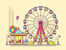 Funfair with ferris wheel. Amusement and carnival, carousel in park, vector illustration Royalty Free Stock Image