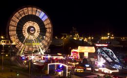 Funfair from a distance at night royalty free stock photography