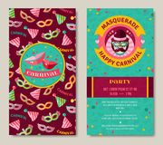 Funfair funny tickets design with pattern. Carnival two sides poster, flyer or invitation design. Vector illustration. Funfair funny tickets design with pattern Royalty Free Stock Photos