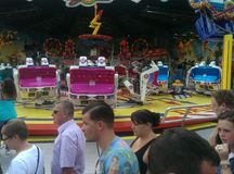 The funfair. Funrides familyday food sunshine Royalty Free Stock Photo