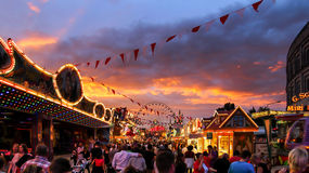 Funfair by night. Funfair Volksfest Germany in evening stock photography