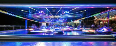 Funfair in Offenbach. At night Stock Photo