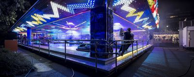Funfair in Offenbach. At night Stock Photography