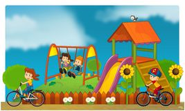 The funfair - playground for kids stock photography