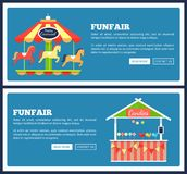 Funfair Posters with Carousels Vector Illustration. Funfair posters with carousels and food booths. Vector illustration with attractions and kiosks full of Royalty Free Stock Images