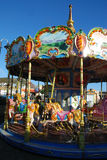 Funfair ride. Wintertime shot of a fairground carousel stock images