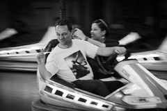 Funfair ride. Ride in a bumper car during Oktoberfest held on Plaza Universo of Fira Barcelona Montjuïc Royalty Free Stock Images