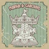 Funfair y carrusel del cartel del vintage en fondo del grunge Elementos aislados ilustración del vector